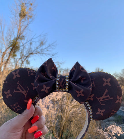 Non Slip Brown Monogram Minnie Ears, Crystal Minnie Ears, Disney Mickey Ears
