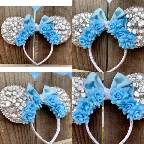 Cinderella Crystals and Roses Minnie Ears, Minnie Mouse Ears