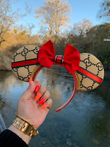 Designer Inspired GG Minnie Ears, Crystal Minnie Ears, Disney Ears