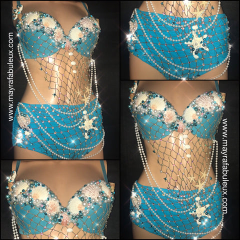 Blue Mermaid Rave Bra and High Waisted Bottoms - Complete Rave Outfit
