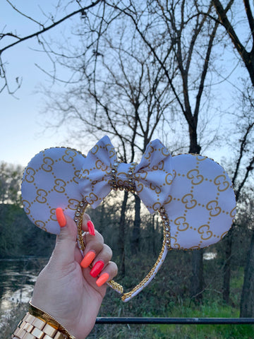 White and Gold Minnie Ears, Crystal Minnie Ears, Disney Ears
