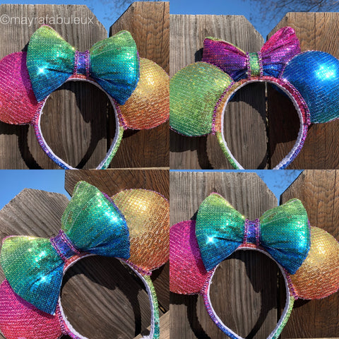 Rainbow Bright Sequin Minnie Ears