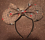 Mickey GG Leather Minnie Ears, Crystal Minnie Ears, Disney Minnie Ears