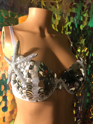 Silver and White Scale Mermaid Bra