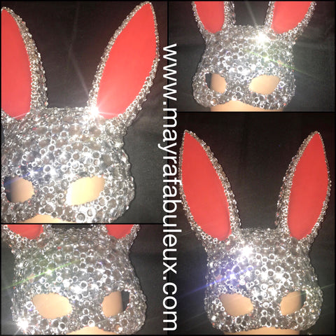 Red Bunny Ears Crystal Rhinestoned Mask- Halloween Costume