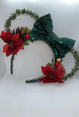 Light Up Wreath Minnie Ears, Holiday Theme Minnie Ears