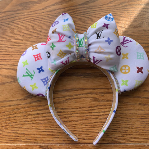 Rainbow Monogram Minnie Ears, Crystal Minnie Ears, Disney Mickey Ears
