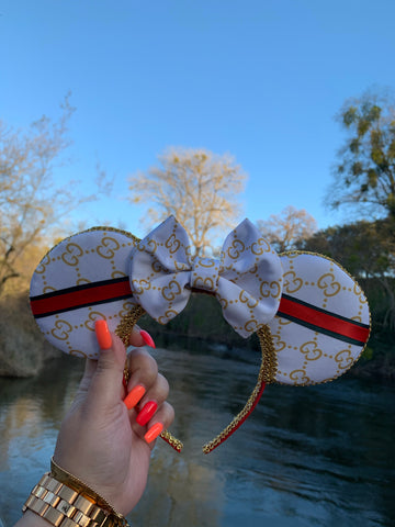 White and Gold with Ribbon Detail Minnie Ears, Crystal Minnie Ears, Disney Ears
