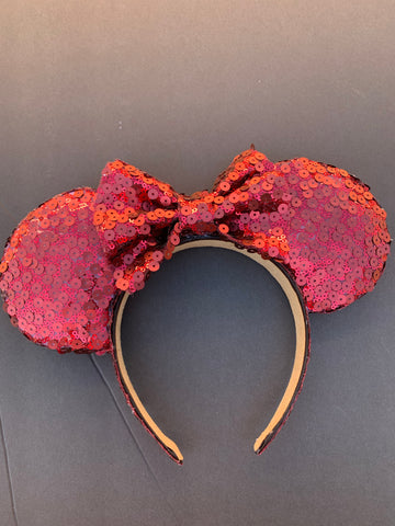 Red Sequin Minnie Ears, Mickey Ears, Disney Ears