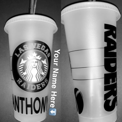 Las Vegas Raiders Reusable Cold Cup,Custom Name Starbucks Tumbler