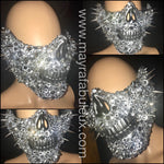 Silver on Silver Crystals and Spikes Half Skeleton Mask