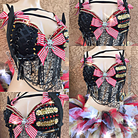 Pirate Rave Bra and  MatchingTutu - Rave Outfit