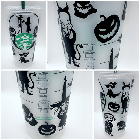 The Nightmare Before Christmas Reusable Cold Cup, Starbucks Tumbler, Jack and Sally Tumbler