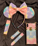 Pastel Dream Louis V Leather Minnie Ears, Crystal Minnie Ears, Disney Minnie Ears