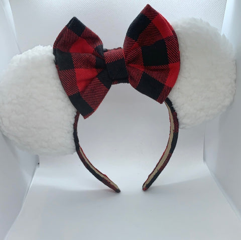 Faux Fur Minnie Ears, Disney Ears, Christmas Minnie Ears, Holiday Theme Minnie Ears