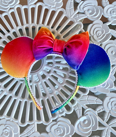 Rainbow Velvet Minnie Ears, Rainbow Minnie Ears