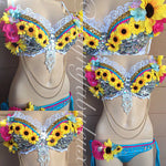 Electric Sunflower Outfit: Bra and Bikini Bottoms