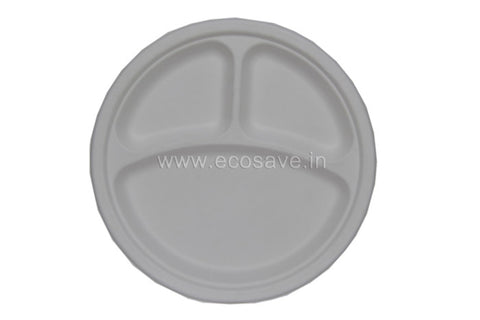 10x3 inch compartment Bagasse Round Plate