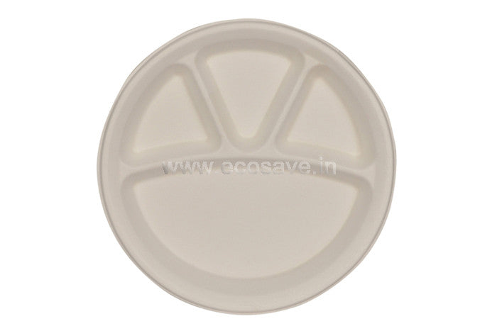 4 compartment Bagasse Round Plates