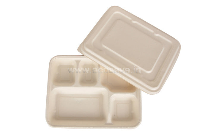 5 Compartment Bagasse Round Plates with Lid