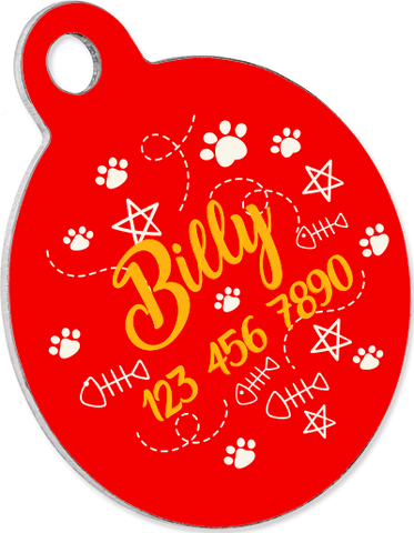 Custom pet tag. Aluminium Round Red.