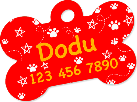 Custom pet tag. Aluminium bone Red.