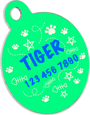 Custom pet tag. Aluminium Round green.