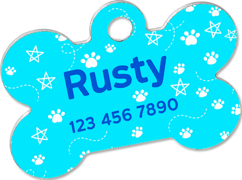 Custom pet tag. Aluminium bone blue.