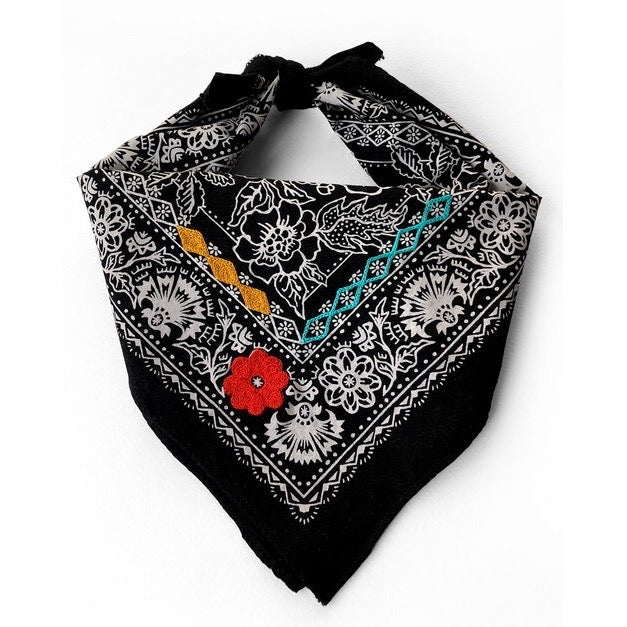 Embroidered Black Rose Bandana