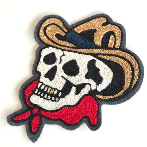Gold Toothed Cowboy Skull Chainstitch Embroidered Patch
