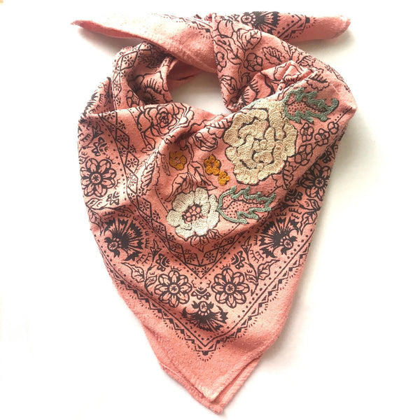Embroidered Madder Pink Rosey Bandana