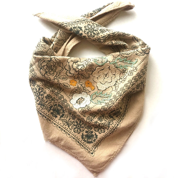Embroidered Black Walnut Rosey Bandana