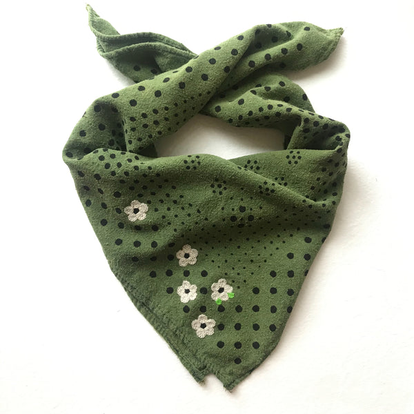 Embroidered Green Dot Bandana