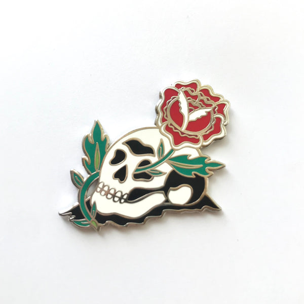 Red Rose Skull Enamel Pin