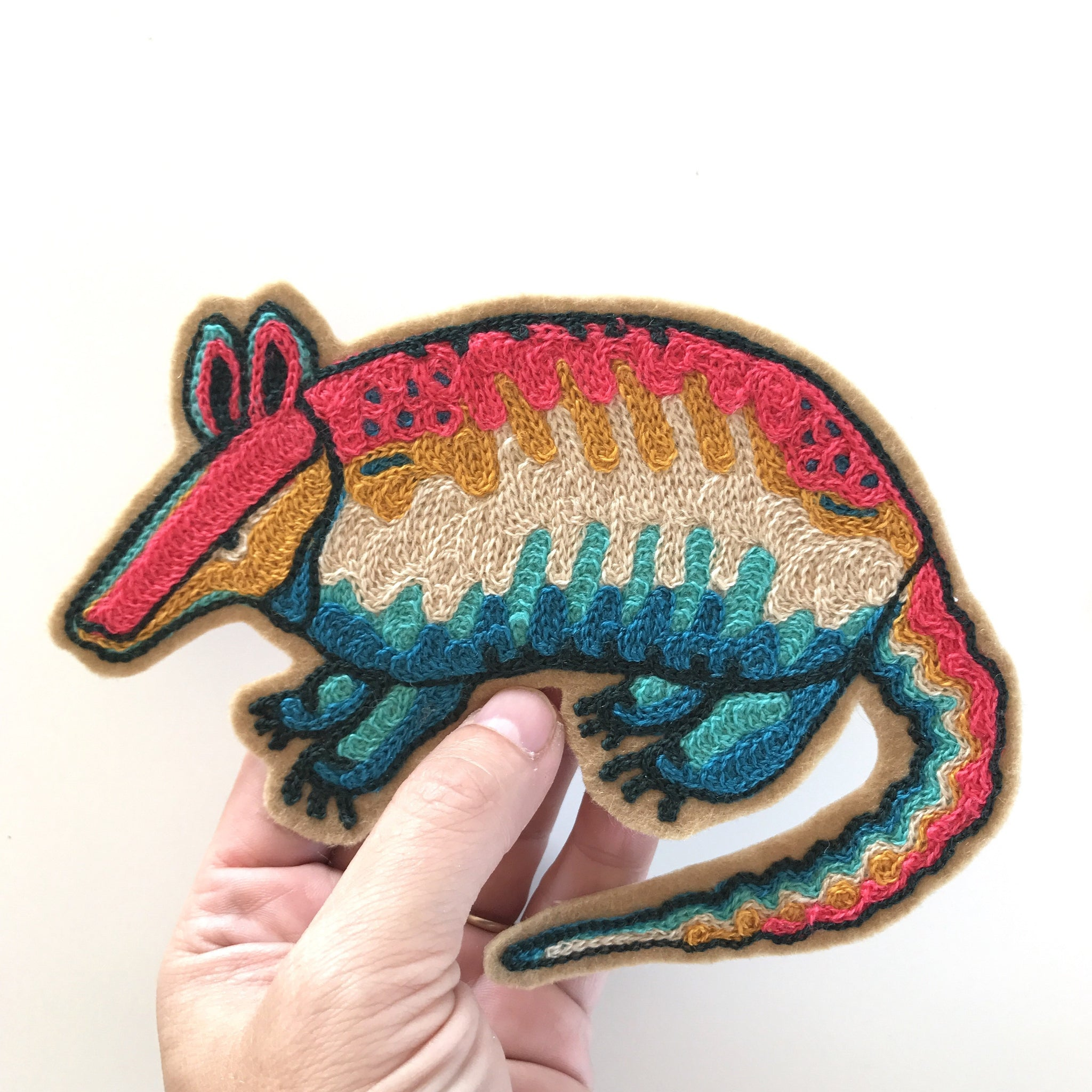 Neon Armadillo Chainstitch Patch
