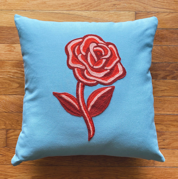 Monochrome Rose Pillow