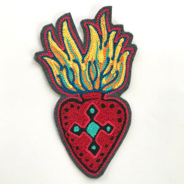 Flaming Heart Chainstitch Patch