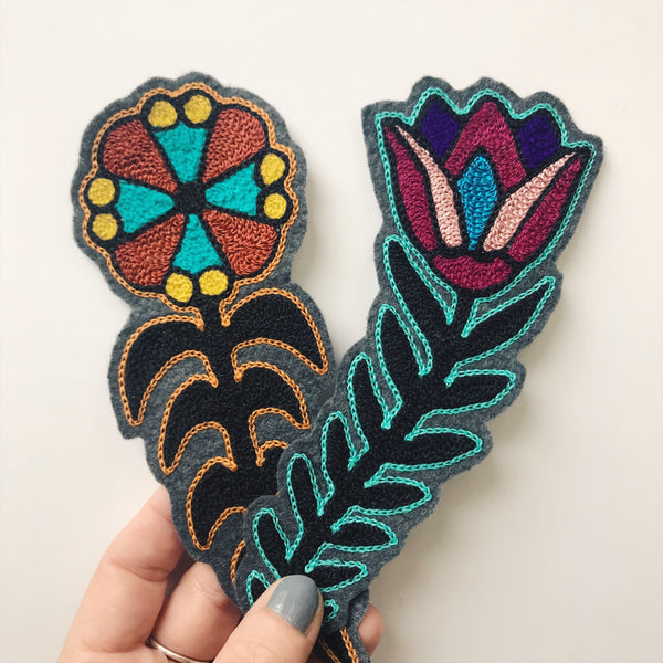 Folk Flowers Chainstitch Patch Set