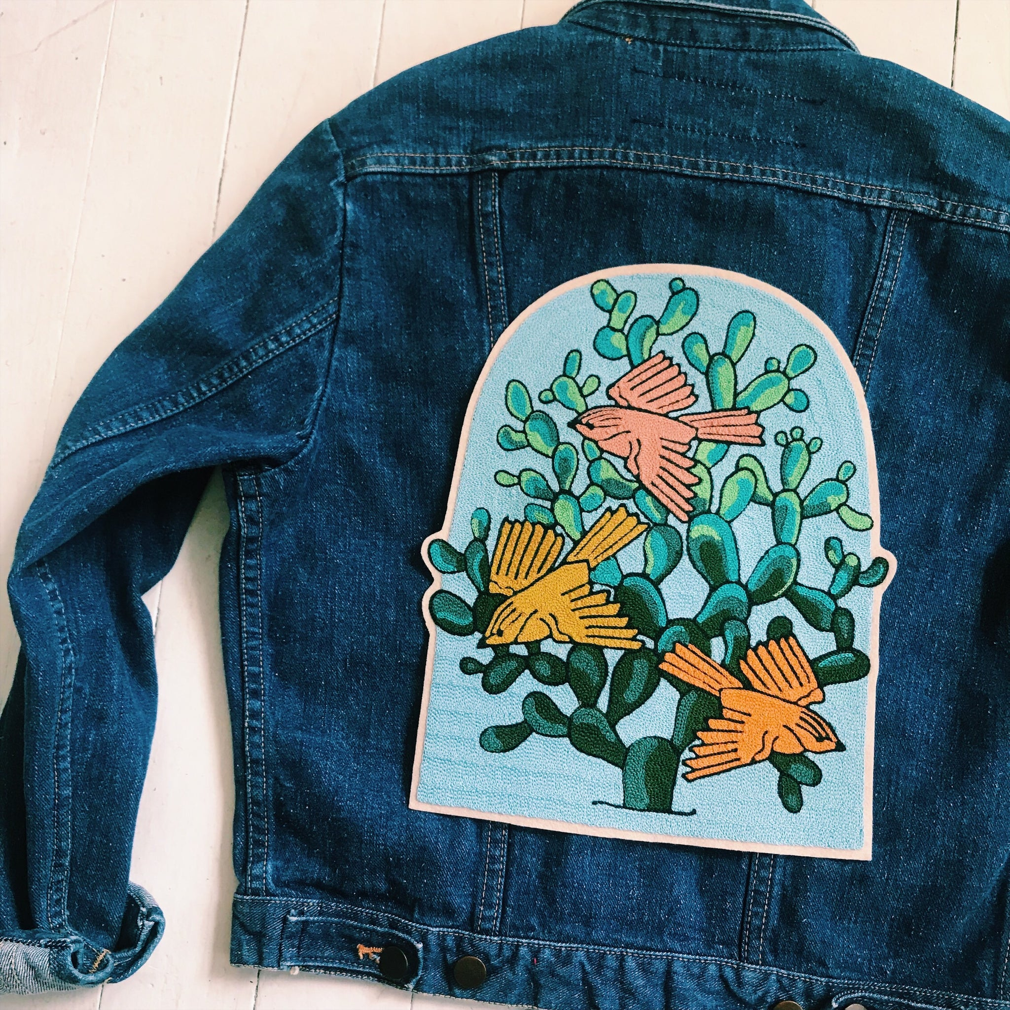 Three Birds Green Cactus Backpatch