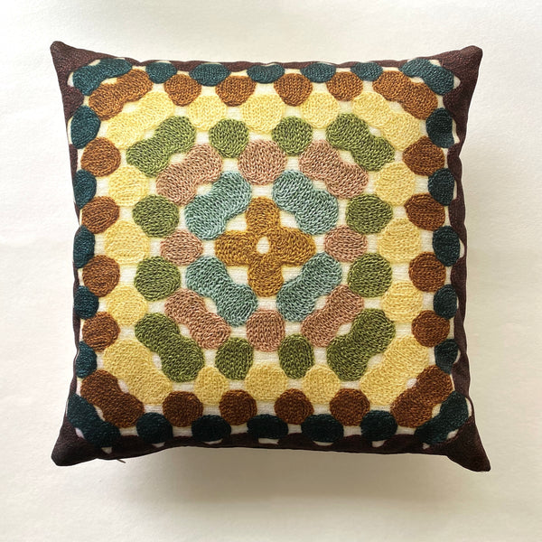 Granny Square Pillow - Tan & Green
