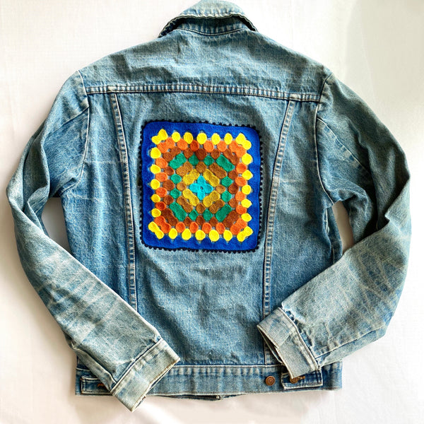 Vintage Denim Jacket - Blue Granny Square