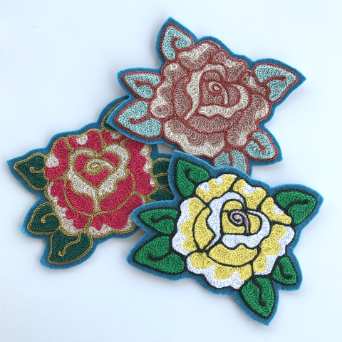 Rose Chainstitch Embroidered Patch
