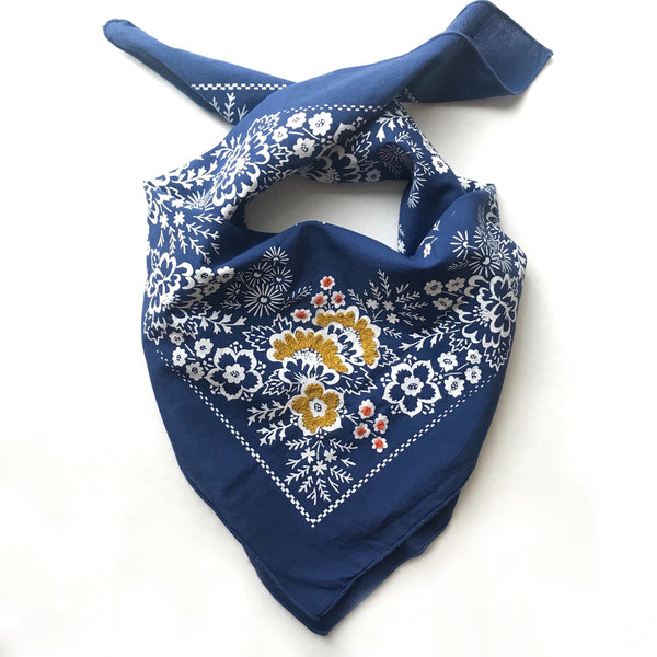 Embroidered Azure Field Bandana