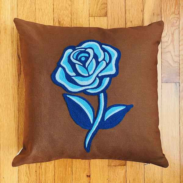 Monochrome Blue Rose Pillow
