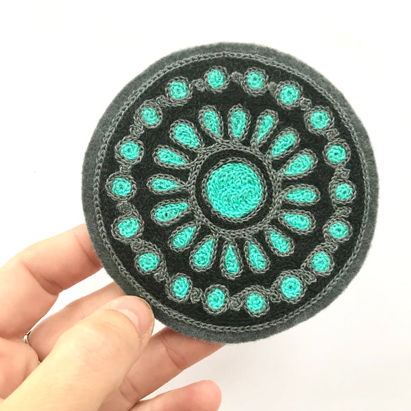 Teal Pendant Chainstitch Patch