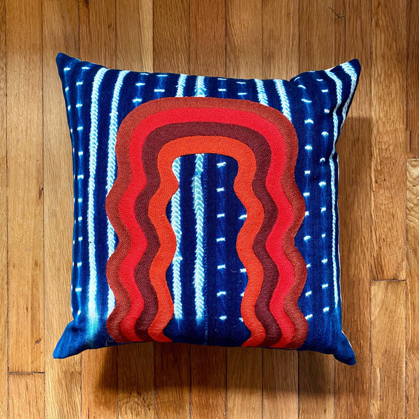 Red Wave Portal Pillow