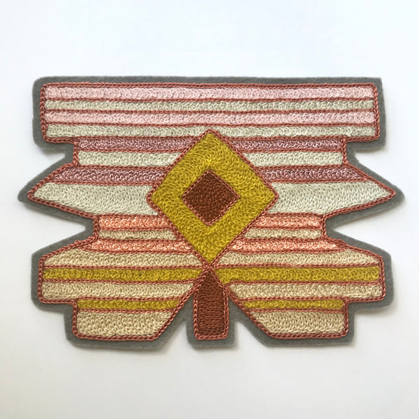 Diamond Stripes Chainstitch Embroidered Patch