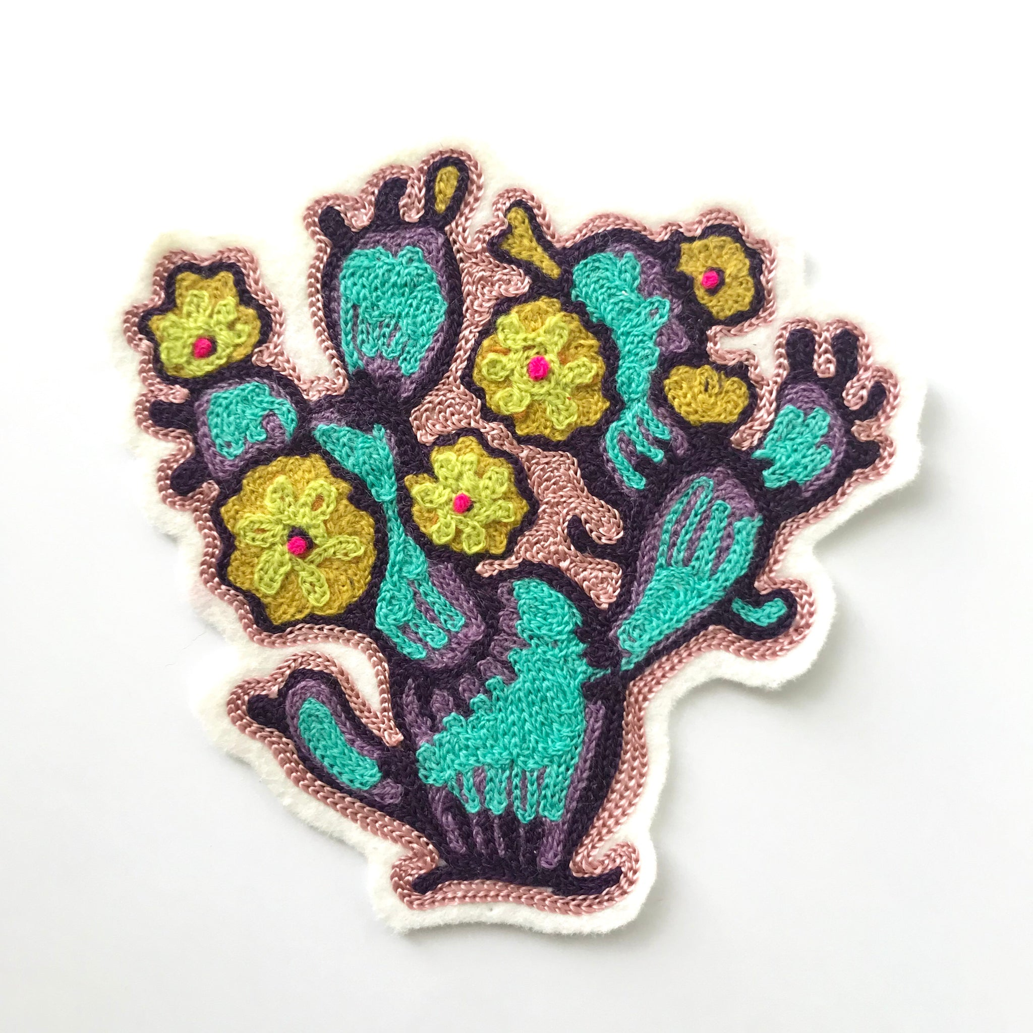 Yellow Flowered Cactus Chainstitch Patch