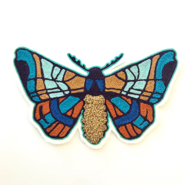 Stained Glass Moth Chainstitch & Chenille Patch