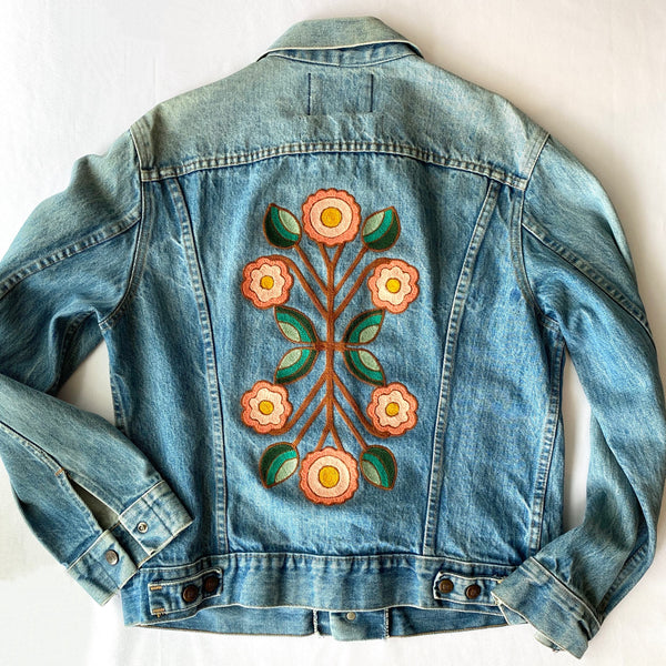 Vintage Denim Jacket - Mirror Flower Rust